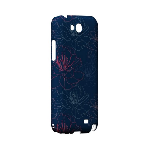 Flower Outline on Blue - Geeks Designer Line Floral Series Hard Case for Samsung Galaxy Note 2