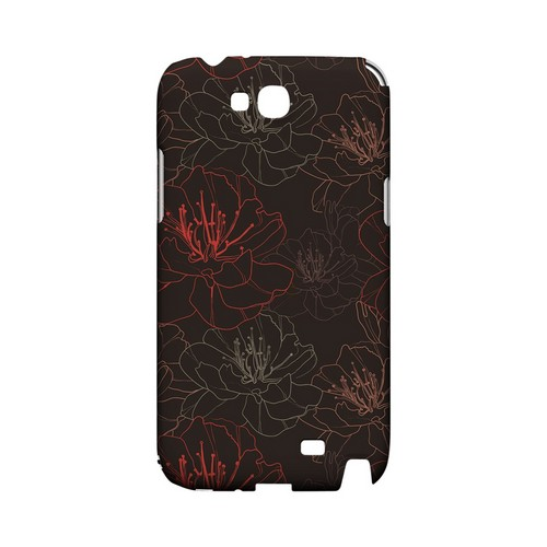 Flower Outline on Brown - Geeks Designer Line Floral Series Hard Case for Samsung Galaxy Note 2