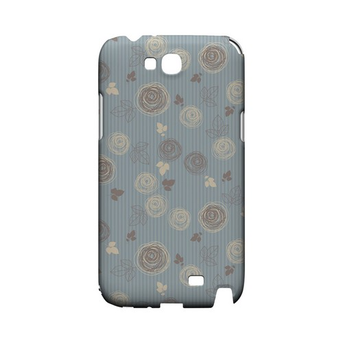 Leaves Scribble Blue/ Brown - Geeks Designer Line Floral Series Hard Case for Samsung Galaxy Note 2