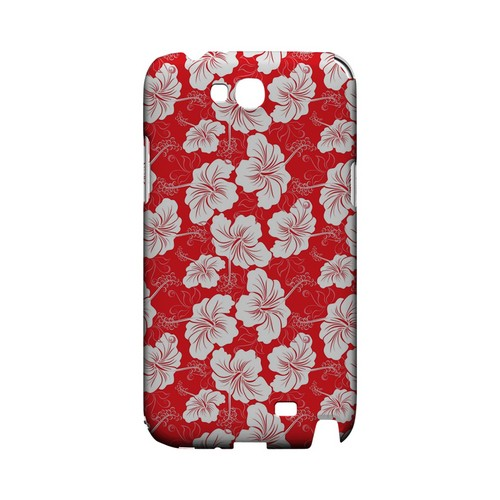 White Hibiscus on Red - Geeks Designer Line Floral Series Hard Case for Samsung Galaxy Note 2