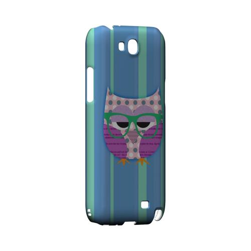 Hipster Owl on Blue/Green Stripes - Geeks Designer Line (GDL) Owl Series Hard Back Cover for Samsung Galaxy Note 2