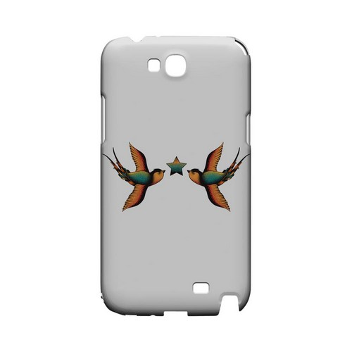 Dual Swallow Star on White - Geeks Designer Line Tattoo Series Hard Case for Samsung Galaxy Note 2
