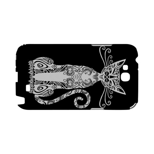 Kitty Nouveau on Black - Geeks Designer Line Tattoo Series Hard Case for Samsung Galaxy Note 2