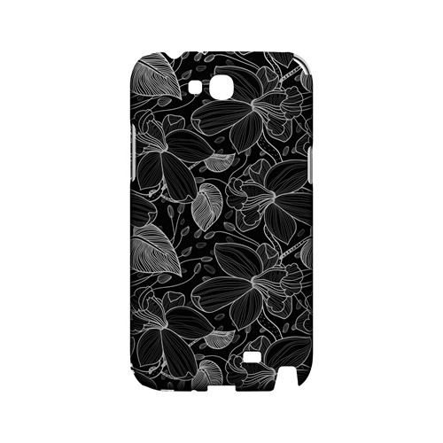 White on Black Orchid Lines - Geeks Designer Line Floral Series Hard Case for Samsung Galaxy Note 2