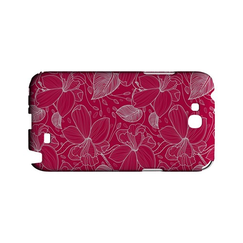 White on Pink Orchid Lines - Geeks Designer Line Floral Series Hard Case for Samsung Galaxy Note 2
