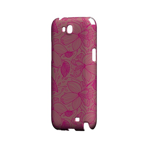 Pink on Pink Orchid Lines - Geeks Designer Line Floral Series Hard Case for Samsung Galaxy Note 2