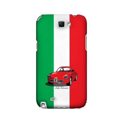 Red Alfa Romeo on Green/ White/ Red - Geeks Designer Line Auto Series Hard Case for Samsung Galaxy Note 2