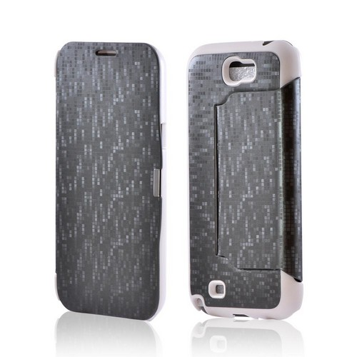 Premium Samsung Galaxy Note 2 Diary Flip Cover Hard Case w/ Stand - Gray/ White Matrix Design