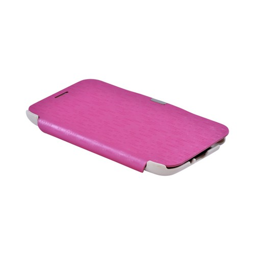 Premium Samsung Galaxy Note 2 Diary Flip Cover Hard Case w/ Stand - Hot Pink/ White Matrix Design