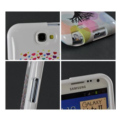 Black Tree w/ Multi-Colored Hearts on White Hard Case for Samsung Galaxy Note 2