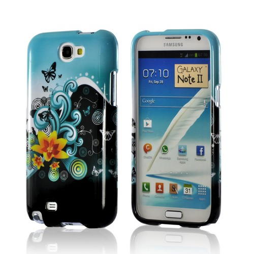 Yellow Lily w/ Swirls on Turquoise/ Black Hard Case for Samsung Galaxy Note 2
