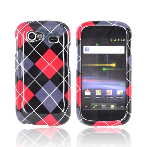 Google Nexus S Hard Case - Red/ Black/ Gray Argyle