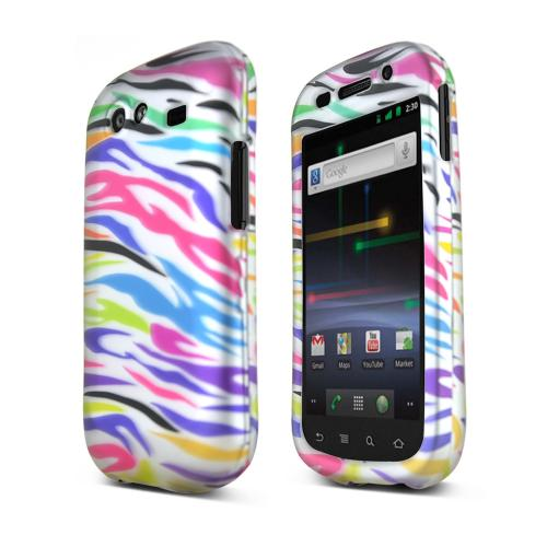 Google Nexus S Hard Case - Rainbow Zebra on Black