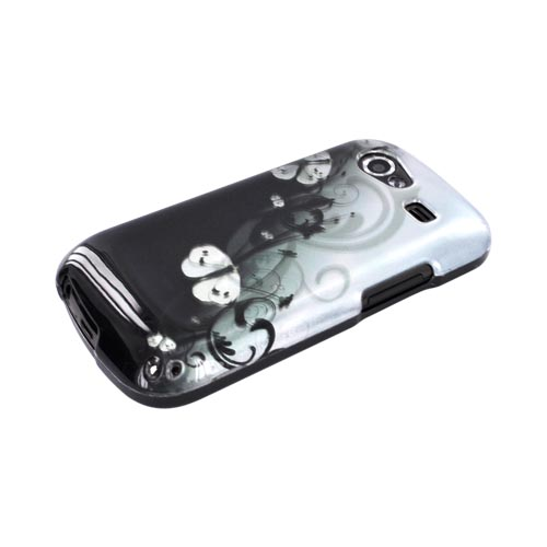 Google Nexus S Hard Case - White Butterflies on Teal/ Black