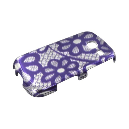 Samsung Freeform 3 Hard Case - Purple Lace Flowers on Silver