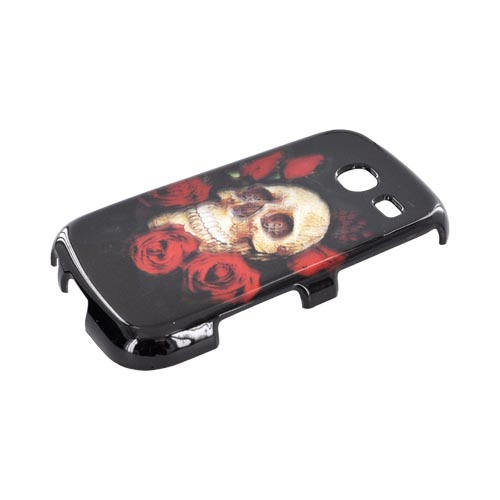 Samsung Freeform 3 Hard Case - Skull & Red Roses on Black