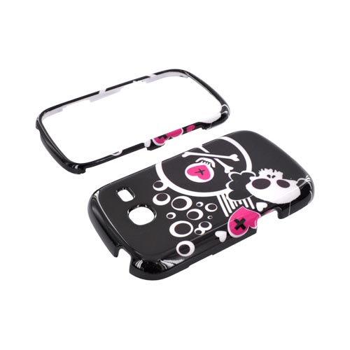 Samsung Freeform 3 Hard Case - White Skulls & Pink Hearts on Black