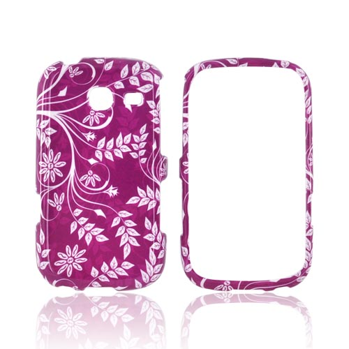 Samsung Freeform 3 Hard Case - White Flowers & Vines on Purple