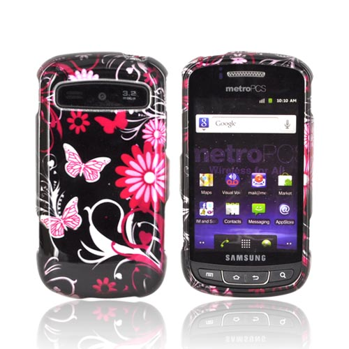 Samsung Rookie R720 Hard Case - Pink Flowers & Butterflies on Black