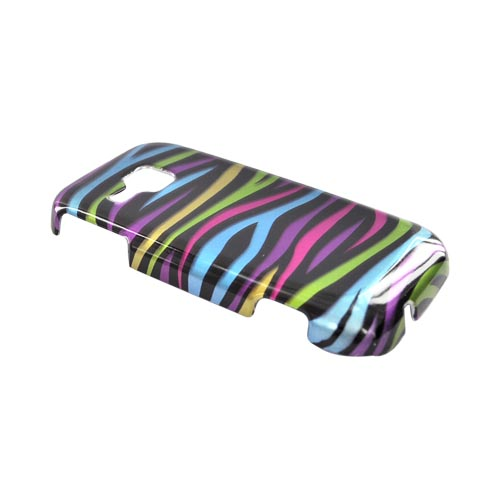 Samsung Galaxy Indulge R910 Hard Case - Rainbow Zebra on Black