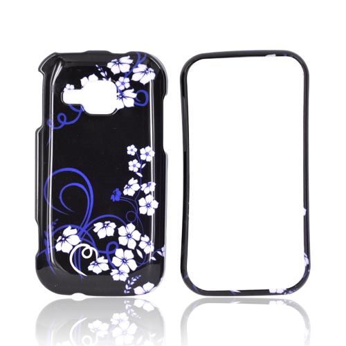 Samsung Galaxy Indulge R910 Hard Case - White Flowers & Blue on Black