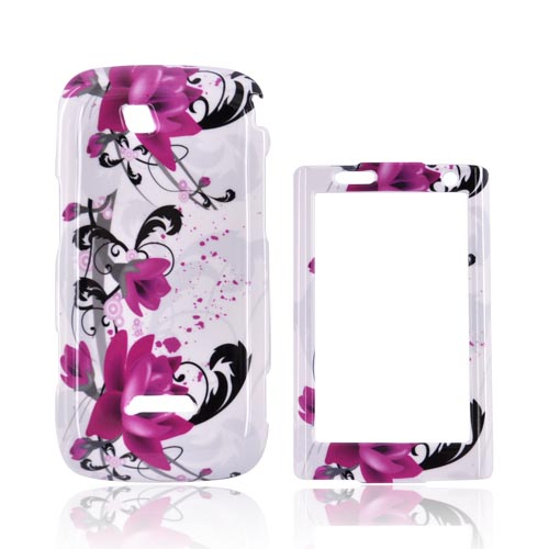 Samsung Sidekick 4G Hard Case - Pink Flowers on White