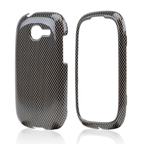 Dark Gray/ Black Carbon Fiber Design Hard Case for Samsung Gravity Q