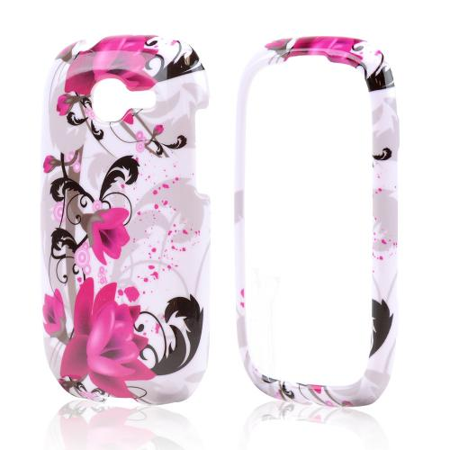 Magenta Flowers w/ Black Vines on White Hard Case for Samsung Gravity Q