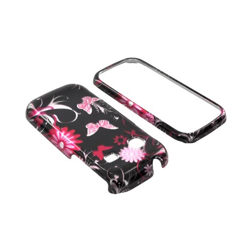 Samsung Gravity TXT T379 Hard Case - Pink Flowers & Butterflies on Black