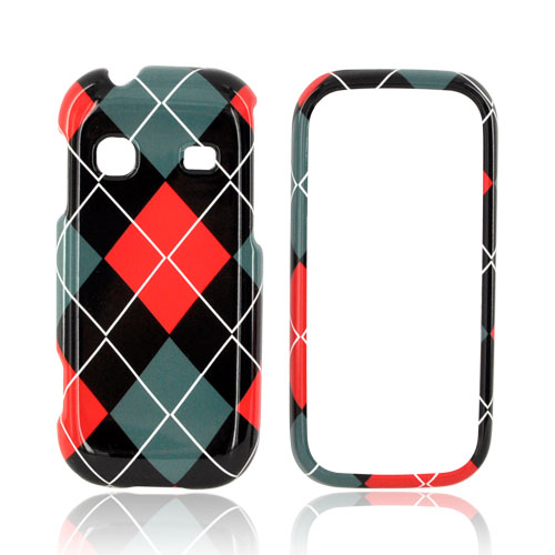 Samsung Gravity TXT T379 Hard Case - Red/ Black/ Gray Argyle