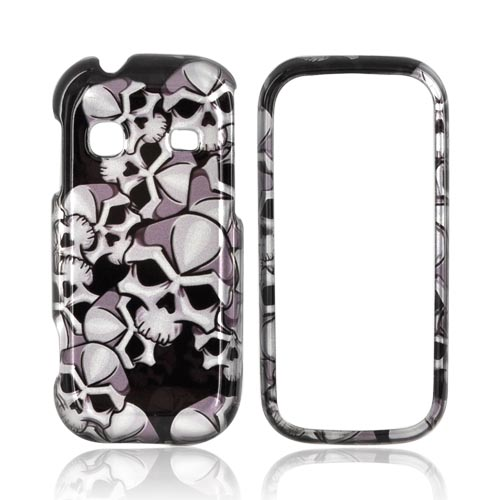 Samsung Gravity TXT T379 Hard Case - Silver Skulls on Black