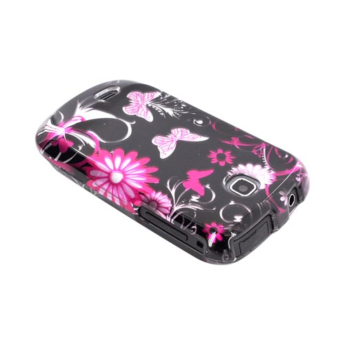 Samsung Dart T499 Hard Case - Pink Flowers & Butterflies on Black