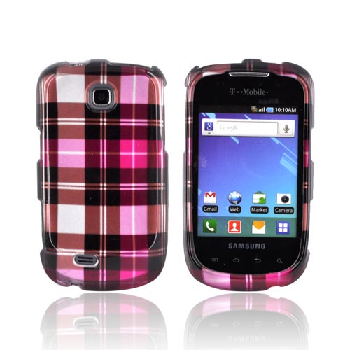 Samsung Dart T499 Hard Case - Plaid Pattern of Pink/ Hot Pink/ Brown/ Gray