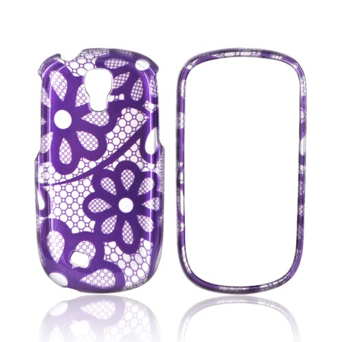 Samsung Gravity Smart Hard Case - Purple Lace Flowers on Silver