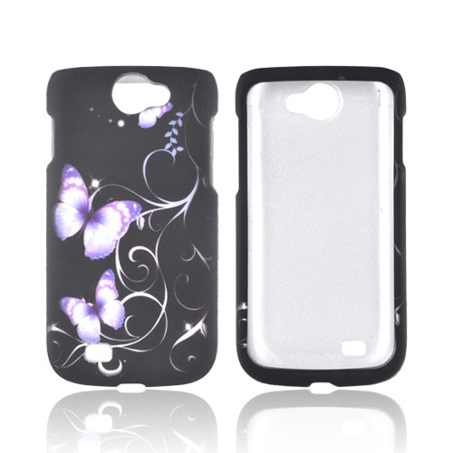 Samsung Exhibit 2 4G Rubberized Hard Case - Purple Butterflies on Black
