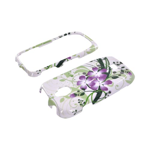Samsung Exhibit T759 Hard Case - Purple Lilly on Green/ White