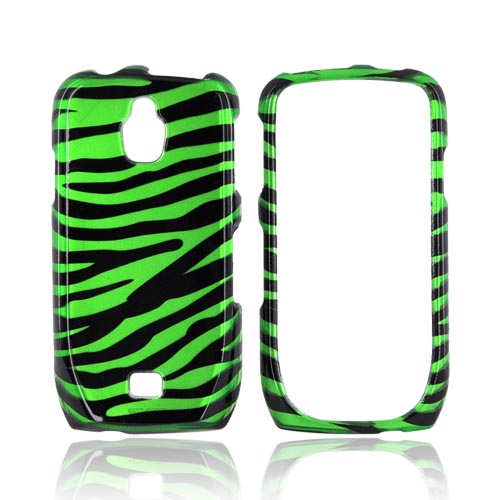 Samsung Exhibit T759 Hard Case - Green/ Black Zebra
