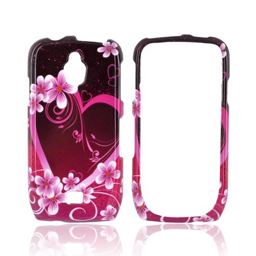 Samsung Exhibit T759 Hard Case - Hot Pink/ Purple Flowers & Hearts