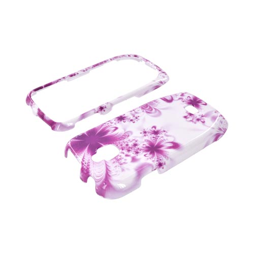 Samsung Exhibit T759 Hard Case - Magenta/ Purple Flowers on White