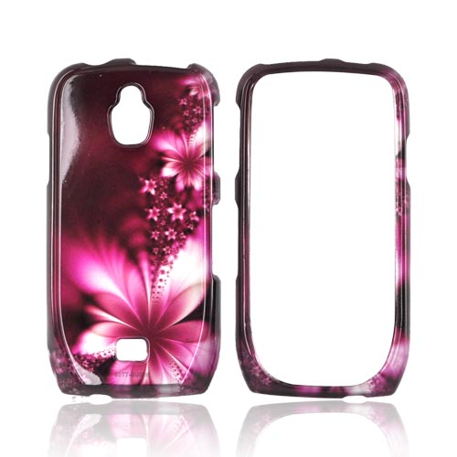 Samsung Exhibit T759 Hard Case - Pink Flowers on Maroon