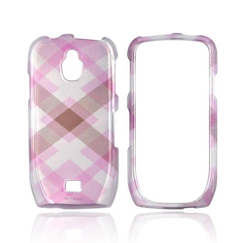 Samsung Exhibit T759 Hard Case - Plaid Pattern of Baby Pink & Brown on Silver