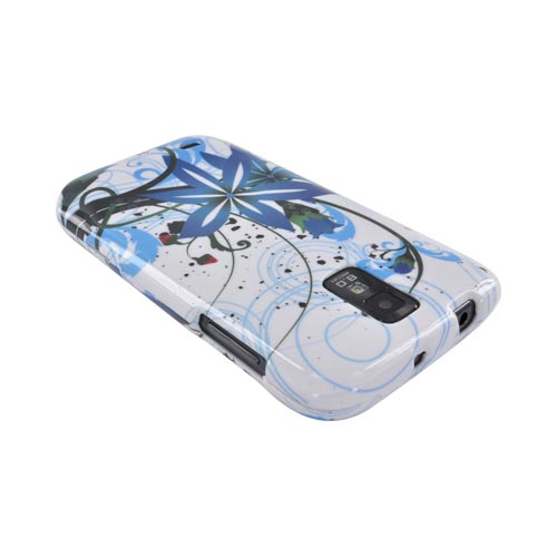 T-Mobile Samsung Galaxy S2 Hard Case - Blue Flower Splash on White