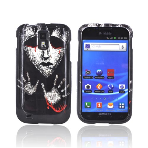 T-Mobile Samsung Galaxy S2 Hard Case - Scary Face Crying Blood on Black