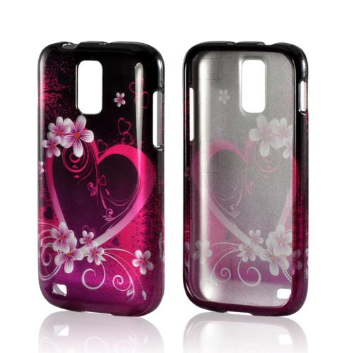 Hot Pink/ Purple Flowers & Hearts Hard Case for T-Mobile Samsung Galaxy S2