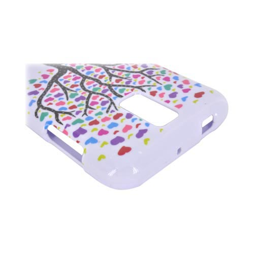 T-Mobile Samsung Galaxy S2 Hard Case - Black Tree w/ Multi-Colored Hearts on White