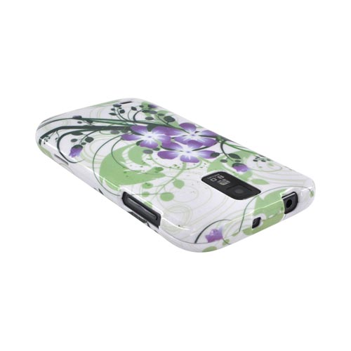 T-Mobile Samsung Galaxy S2 Hard Case - Purple Lily on Green/ White