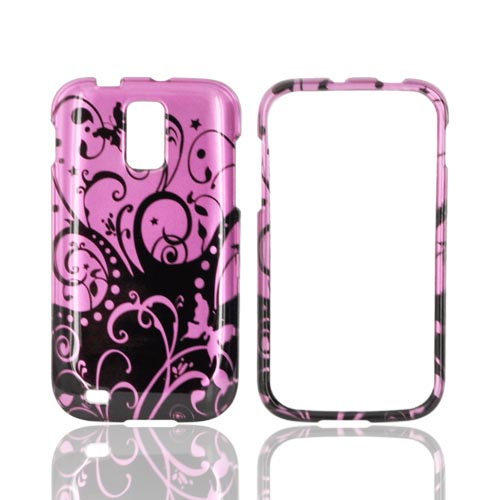 T-Mobile Samsung Galaxy S2 Hard Case - Black Swirl Design on Purple
