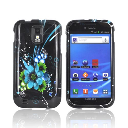 T-Mobile Samsung Galaxy S2 Hard Case - Turquoise/ Green Flowers on Black