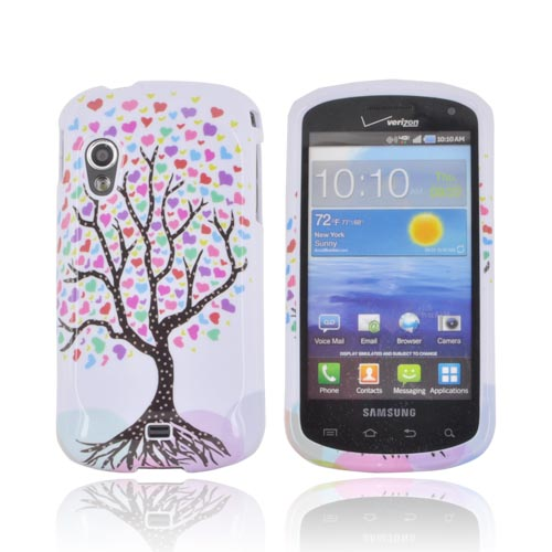 Samsung Stratosphere i405 Hard Case - Black Tree w/ Multi-Colored Hearts on White