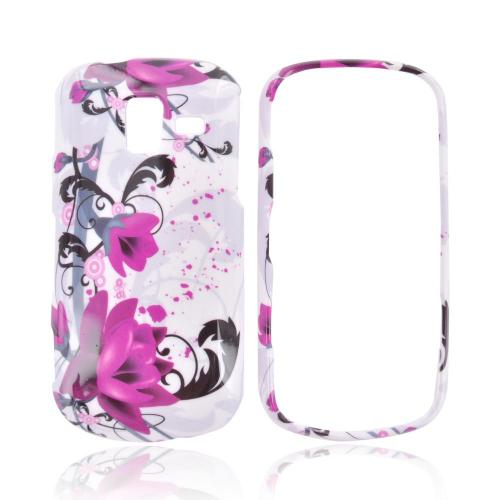 Samsung Intensity III Hard Case - Magenta Flowers & Black Vines on White
